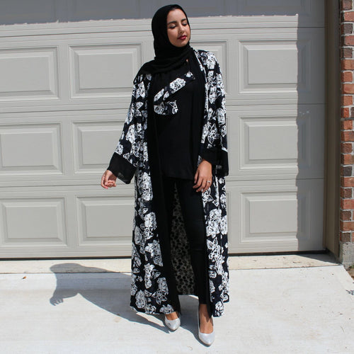 OPEN ABAYA KIMONO BLACK/WHITE MIX - Husna Collections