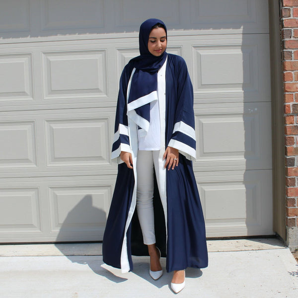 OPEN ABAYA NAVY/WHITE - Husna Collections