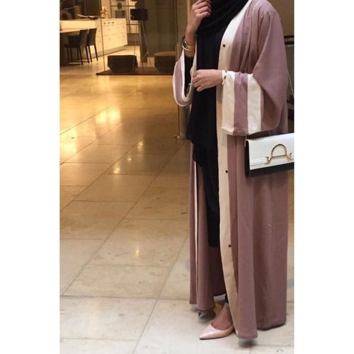 OPEN ABAYA BEIGE/WHITE - Husna Collections