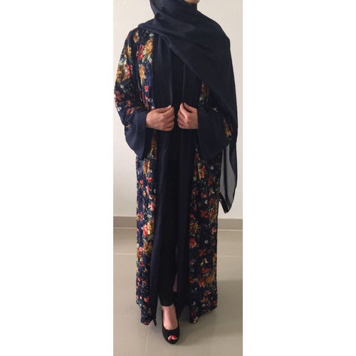 OPEN ABAYA KIMONO NAVY LACE - Husna Collections