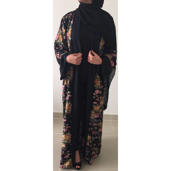 OPEN ABAYA KIMONO LACE BLACK - Husna Collections