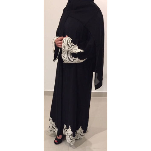 OPEN ABAYA BLACK LACE - Husna Collections