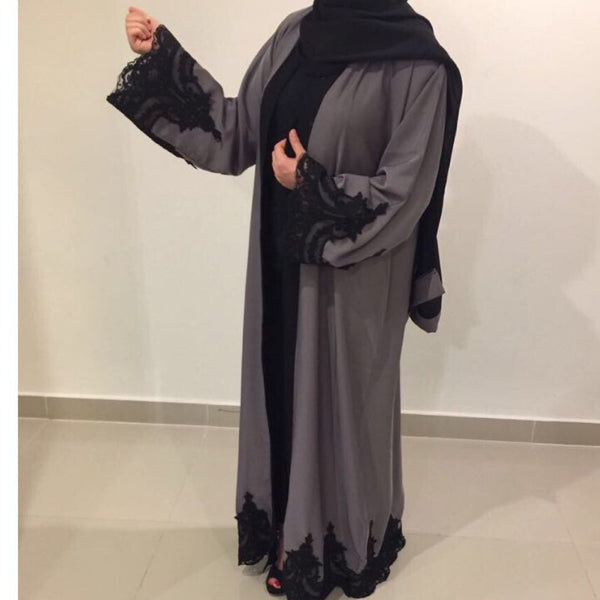 OPEN ABAYA GREY LACE - Husna Collections