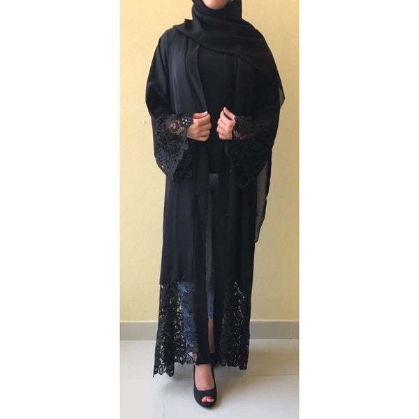 AMBER BLACK LACE ABAYA - Husna Collections