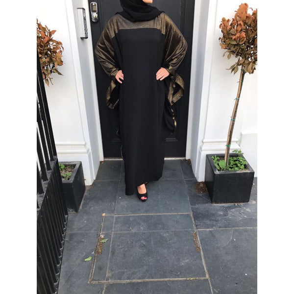 AMBER BUTTERLY GOLD TRIM ABAYA - Husna Collections