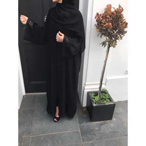 BLACK CROCHET OPEN ABAYA - Husna Collections
