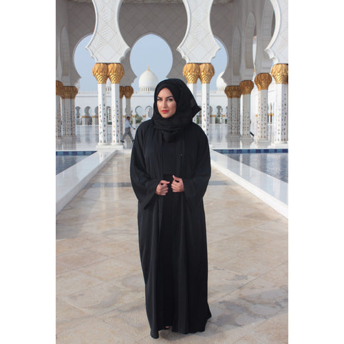 BLACK OPEN ABAYA - Husna Collections