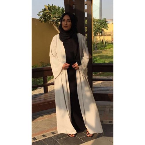 LIGHT GREY CREPE KIMONO - Husna Collections