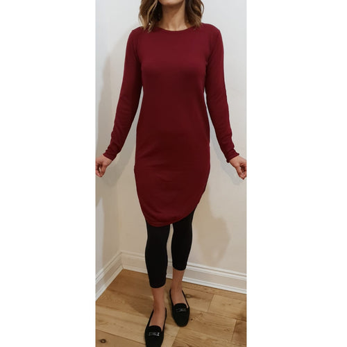 MIDI FLOATER DRESS MAROON