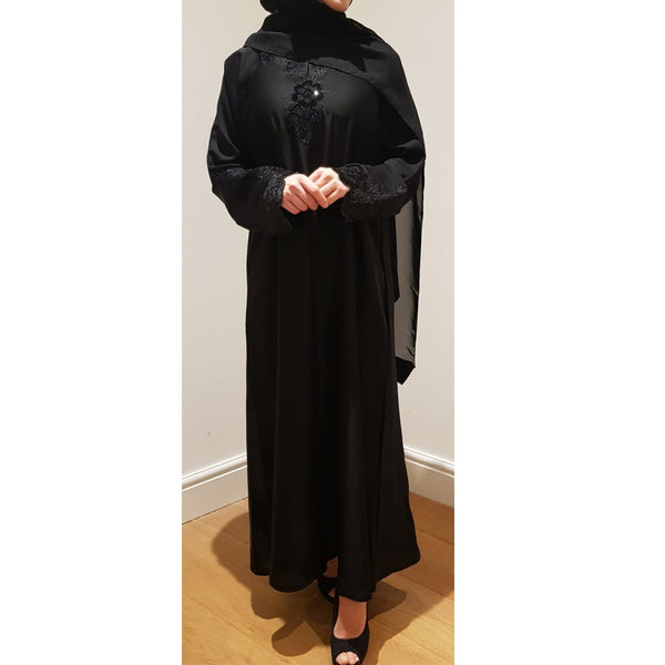 BLACK EMBELLISHED CLOSED ABAYA