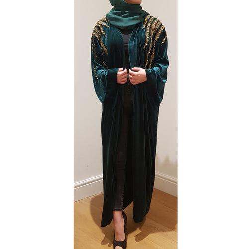 EMERALD GREEN VELVET GOLD LEAVES ABAYA