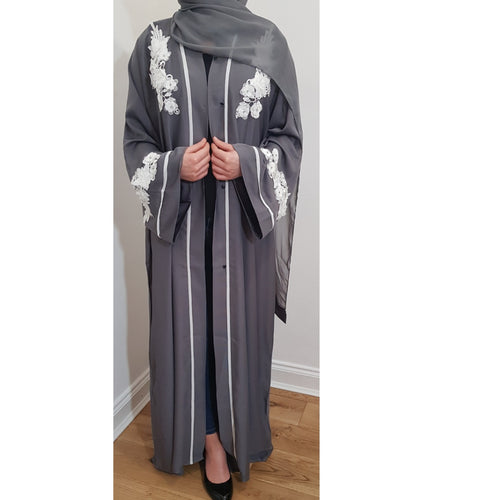WHITE FLOWER ABAYA GREY - Husna Collections