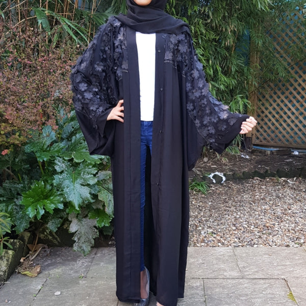 BLACK BUTTERFLY FLOWER ABAYA