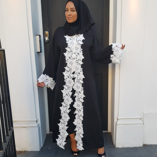 CROCHET WHITE TRIM ABAYA