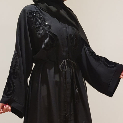 BLACK UMBRELLA EMBELLISHED DETAILED ABAYA