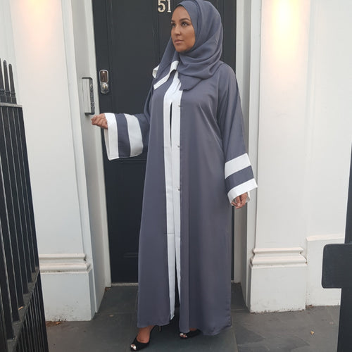 OPEN ABAYA GREY/WHITE