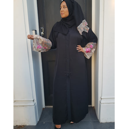 DUSTY PINK PEARL LACE ABAYA