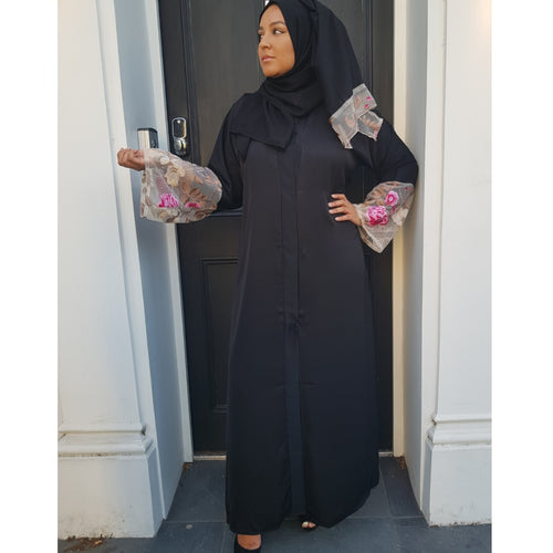 BLACK FLOWER LACE ABAYA