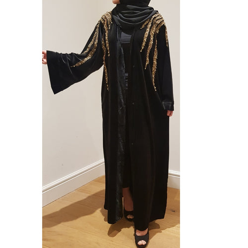 BLACK VELVET GOLD LEAVES ABAYA