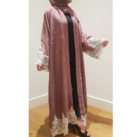 BELLA ABAYA FLORAL MIX DUSTY PINK