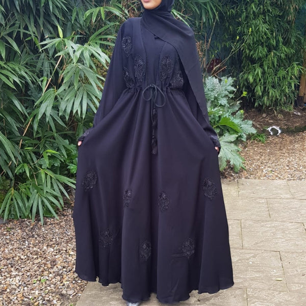 BLACK EMBELLISHED UMBRELLA CUT ABAYA