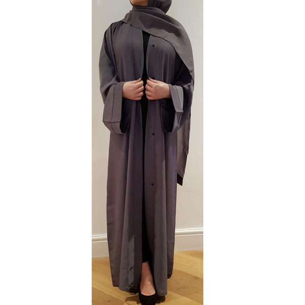 OPEN ABAYA DARK GREY - Husna Collections