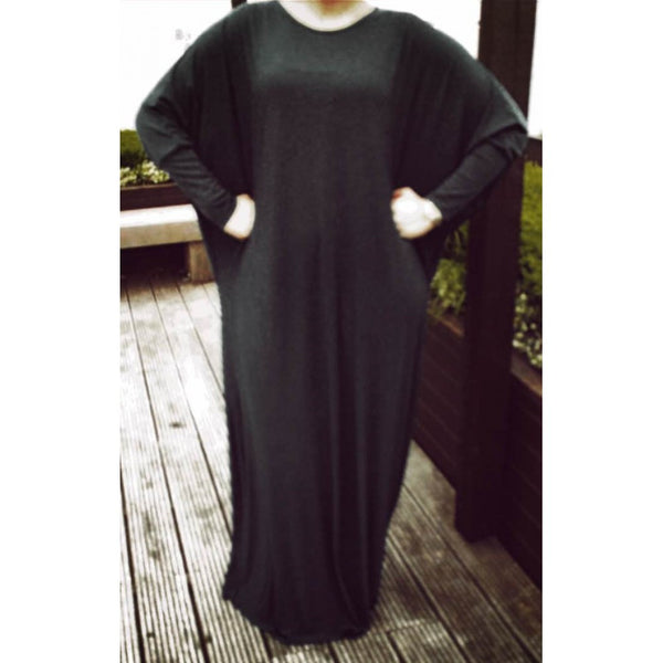 BATWING BLACK ABAYA - Husna Collections