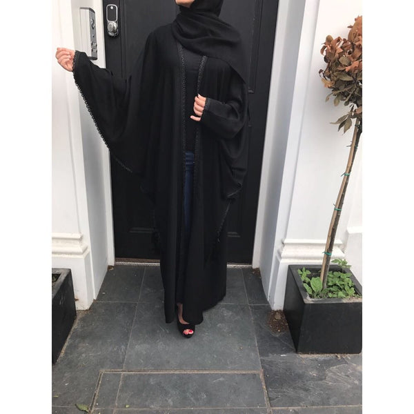 BLACK BUTTERFLY OPEN CROCHET ABAYA - Husna Collections