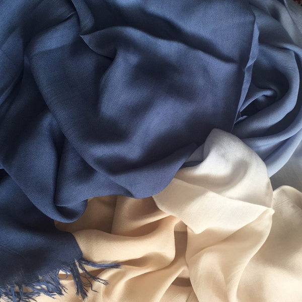 LUXURY 3 TONED BLUE AND CREAM - Husna Collections