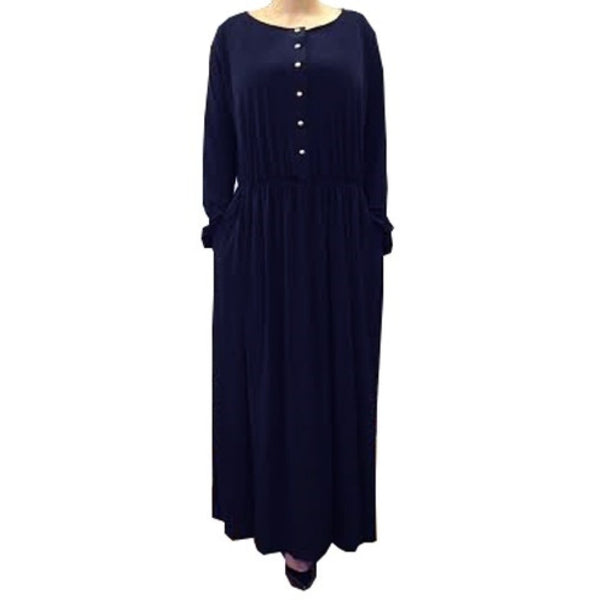 ESSENTIAL GATHERED ABAYA NAVY - Husna Collections