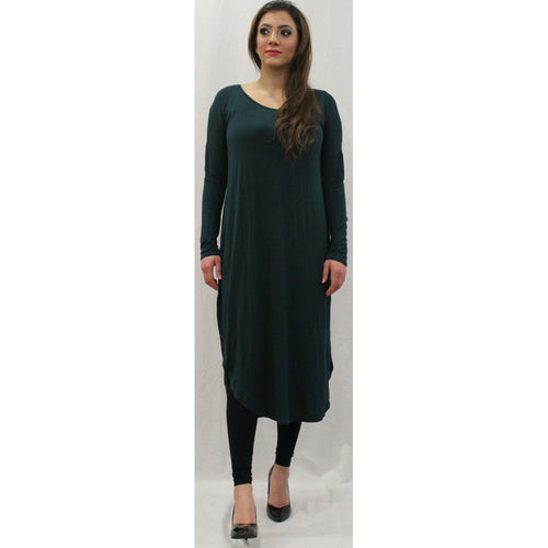 FLOATER DRESS BOTTLE GREEN - Husna Collections