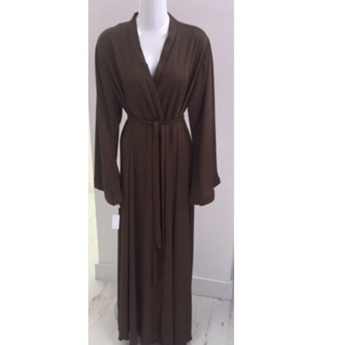 BROWN CREPE KIMONO - Husna Collections