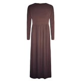 CLASSIC PLEATS MAXI DRESS ABAYA BROWN - Husna Collections