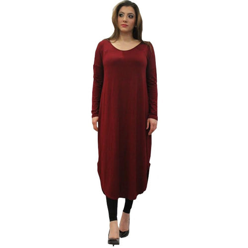FLOATER DRESS BURGUNDY - Husna Collections