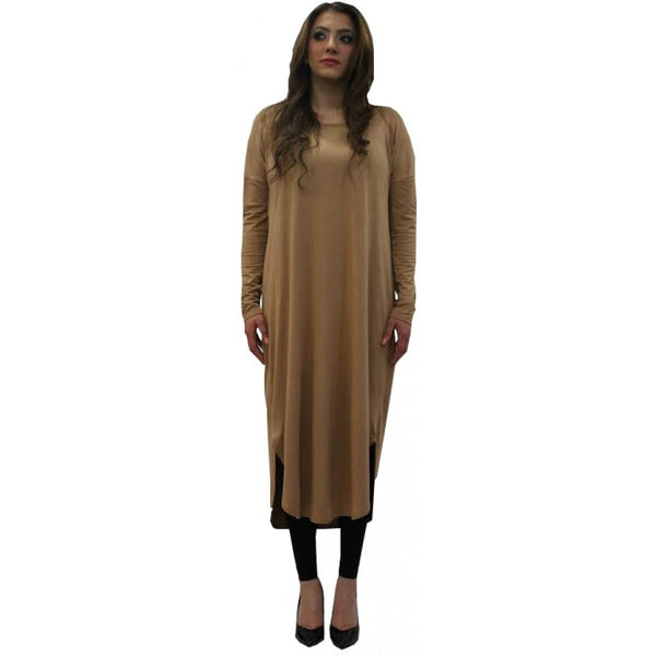 FLOATER DRESS CAMEL - Husna Collections