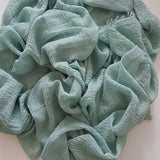 CRIMP SEA GREEN HIJAB - Husna Collections