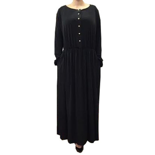 ESSENTIAL GATHERED ABAYA BLACK - Husna Collections