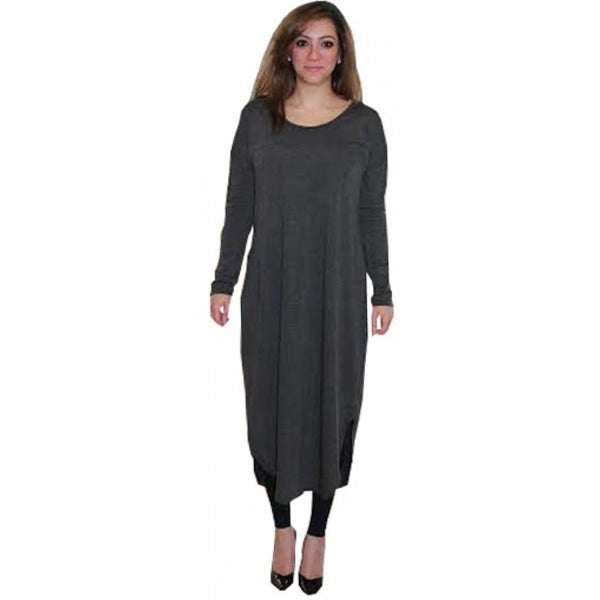 FLOATER DRESS CHARCOAL - Husna Collections
