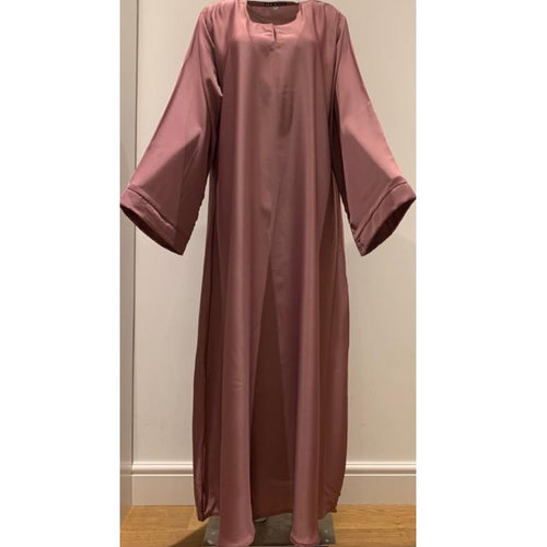 CASUAL PLAIN BELL SLEEVES ABAYA DUSTY PINK