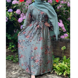 BELLA ABAYA FLORAL MIX DUCK GREEN