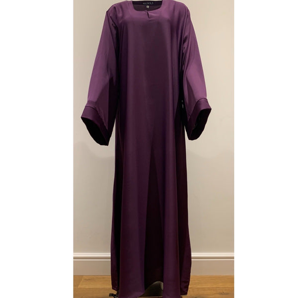 CASUAL PLAIN BELL SLEEVES ABAYA PLUM