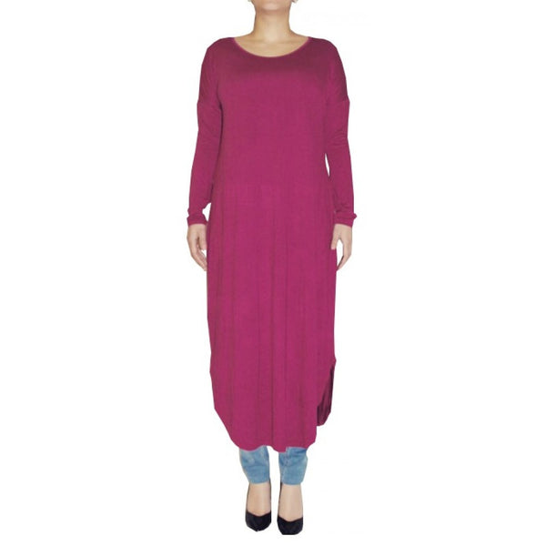FLOATER DRESS MAGENTA - Husna Collections