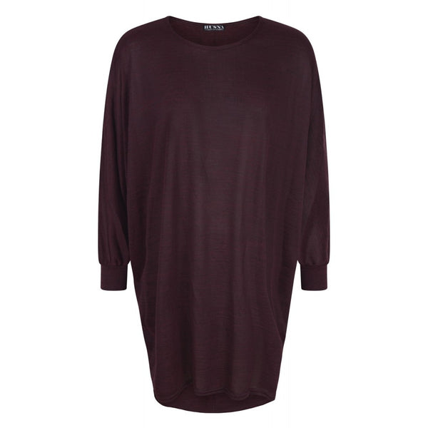 HIGH LOW BATWING TOPS MAROON - Husna Collections