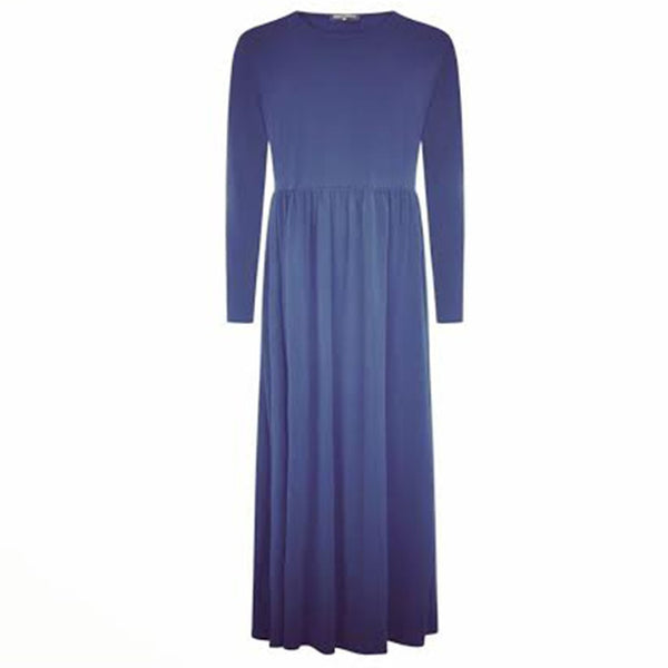 CLASSIC PLEATS MAXI DRESS ABAYA DENIM BLUE - Husna Collections