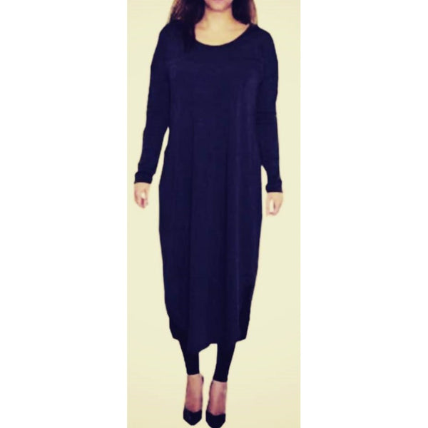 FLOATER DRESS NAVY - Husna Collections