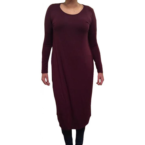 FLOATER DRESS PLUM - Husna Collections