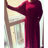 GATHERED BATWING ABAYA RUBY - Husna Collections