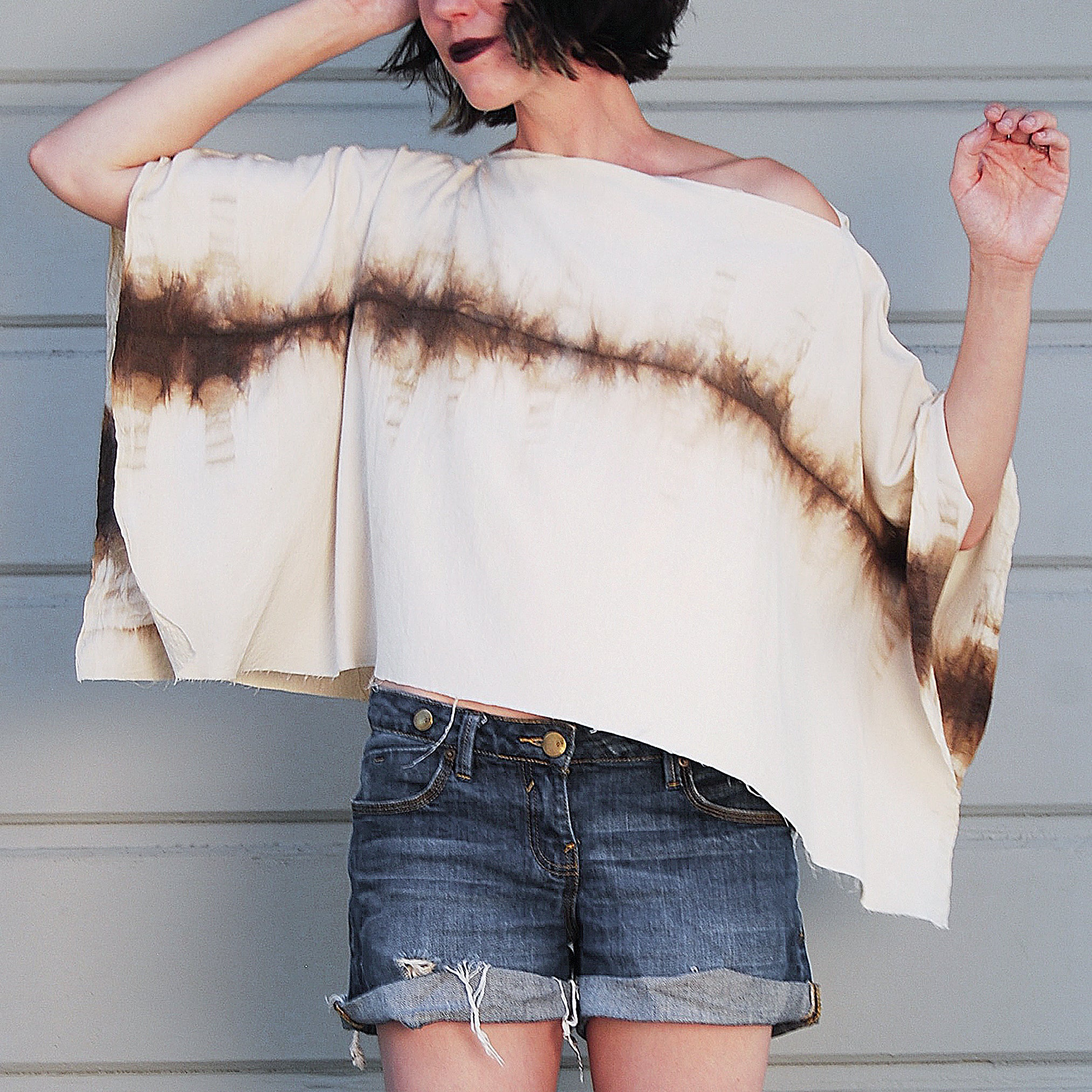 Black Walnut-dyed Peace Silk Poncho