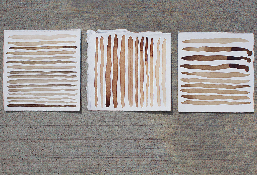 Elderberry, Buckwheat, Fig Ink Painting, triptych