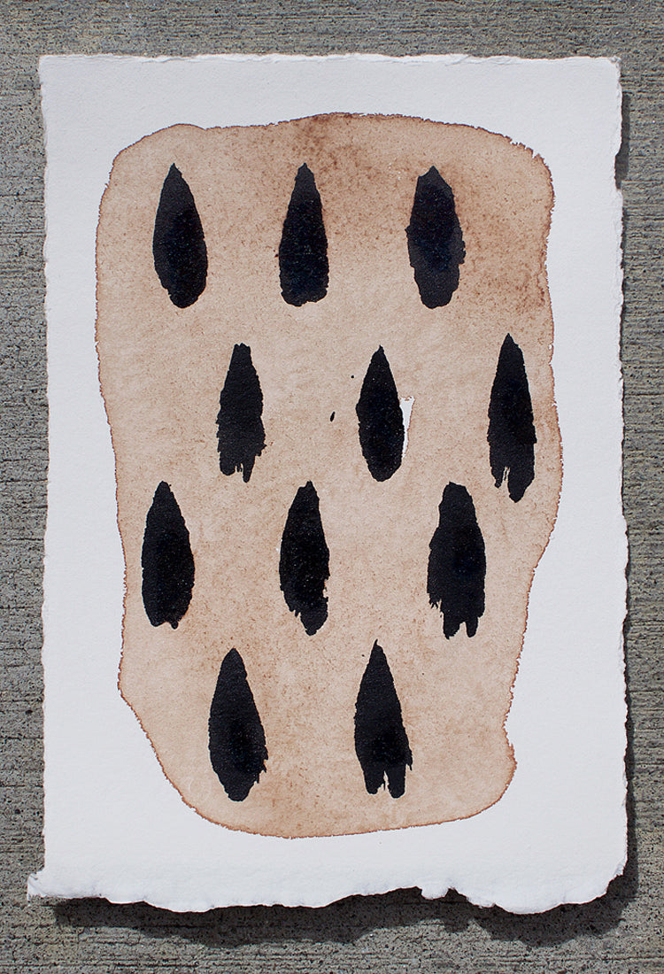 Persimmon & India Ink Painting, 7x5""